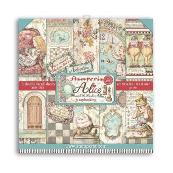 """Stamperia Alice Through the Looking Glass 12 x 12"""" Double sided Scrapbooking Papers (SBBL93)"""
