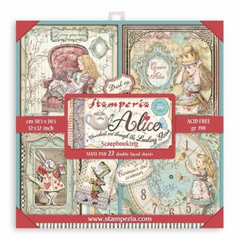 """Stamperia Alice Through the Looking Glass 12 x 12"""" Double sided Scrapbooking Papers Maxi Paper Pack (SBBXL12)"""