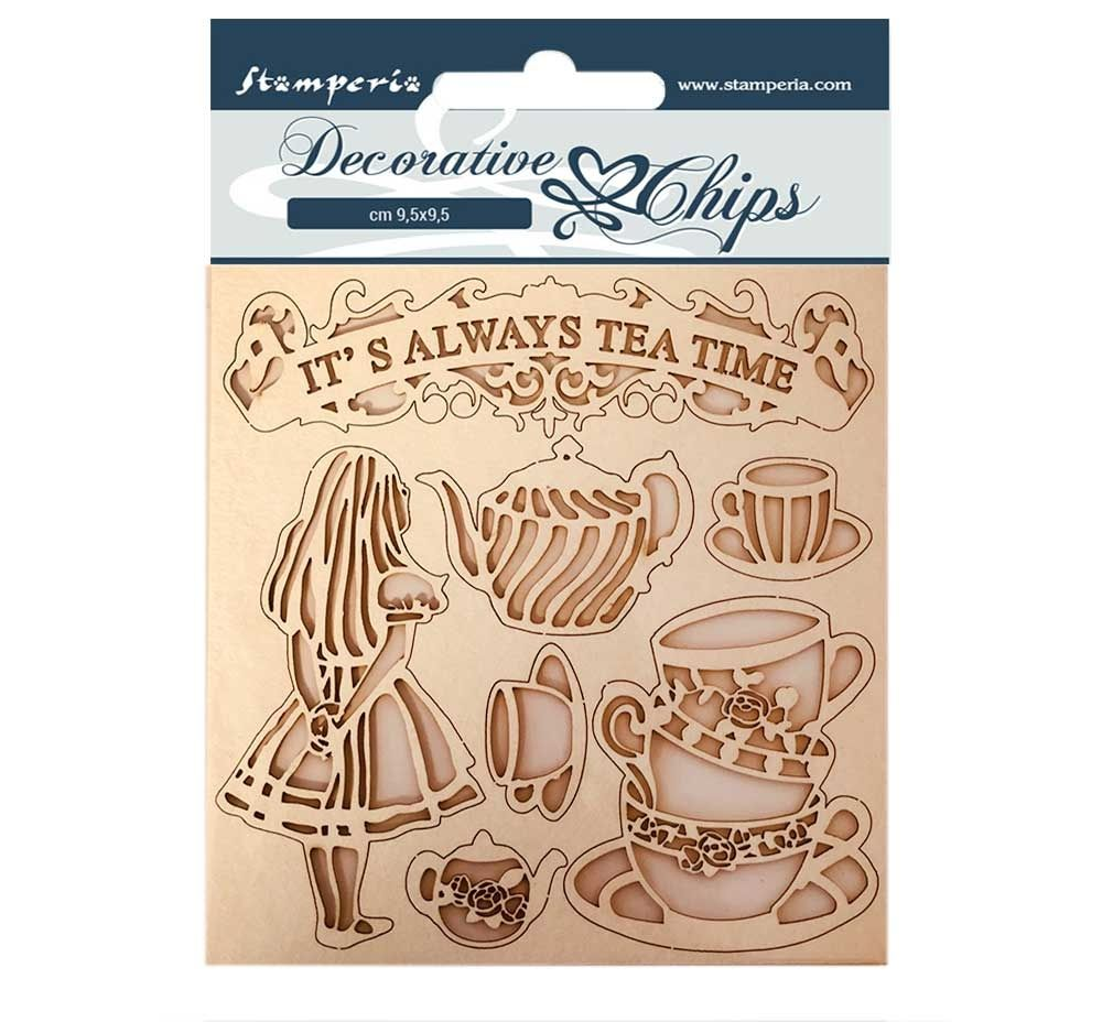 Stamperia Alice Decorative Chips Tea Time (SCB49)
