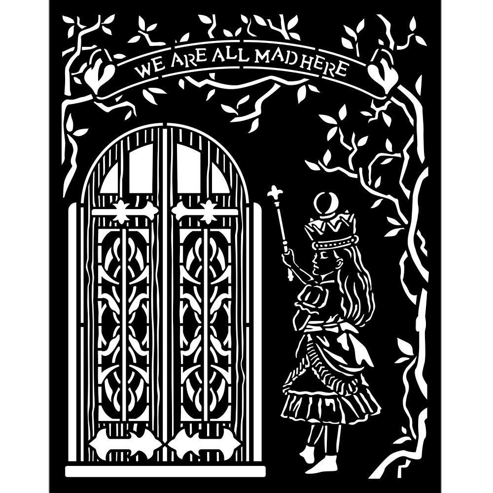 Stamperia Alice Through the Looking Glass Thick Stencil 20x25cm  Door (KSTD