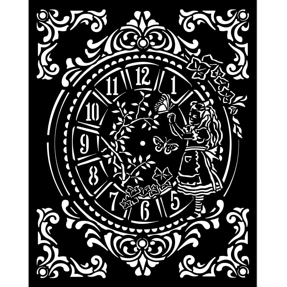 Stamperia Alice Through the Looking Glass Thick Stencil 20x25cm Clock (KSTD