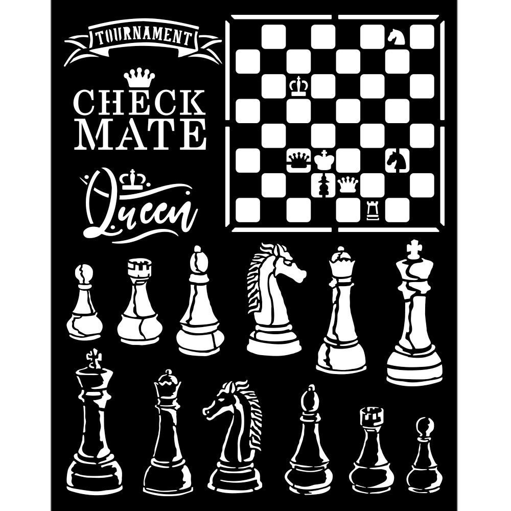 Stamperia Alice Through the Looking Glass Thick Stencil 20x25cm Check Mate