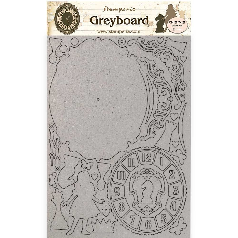 Stamperia Alice Through the Looking Glass Greyboard A4 Clock (KLSPDA440)