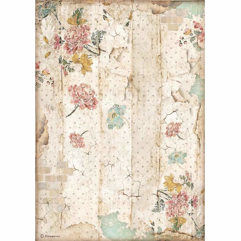 Stamperia Alice Through the Looking Glass A4  Rice Paper Wall Texture (DFSA