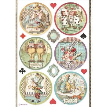 Stamperia Alice Through the Looking Glass A4  Rice Paper Rounds (DFSA4606)