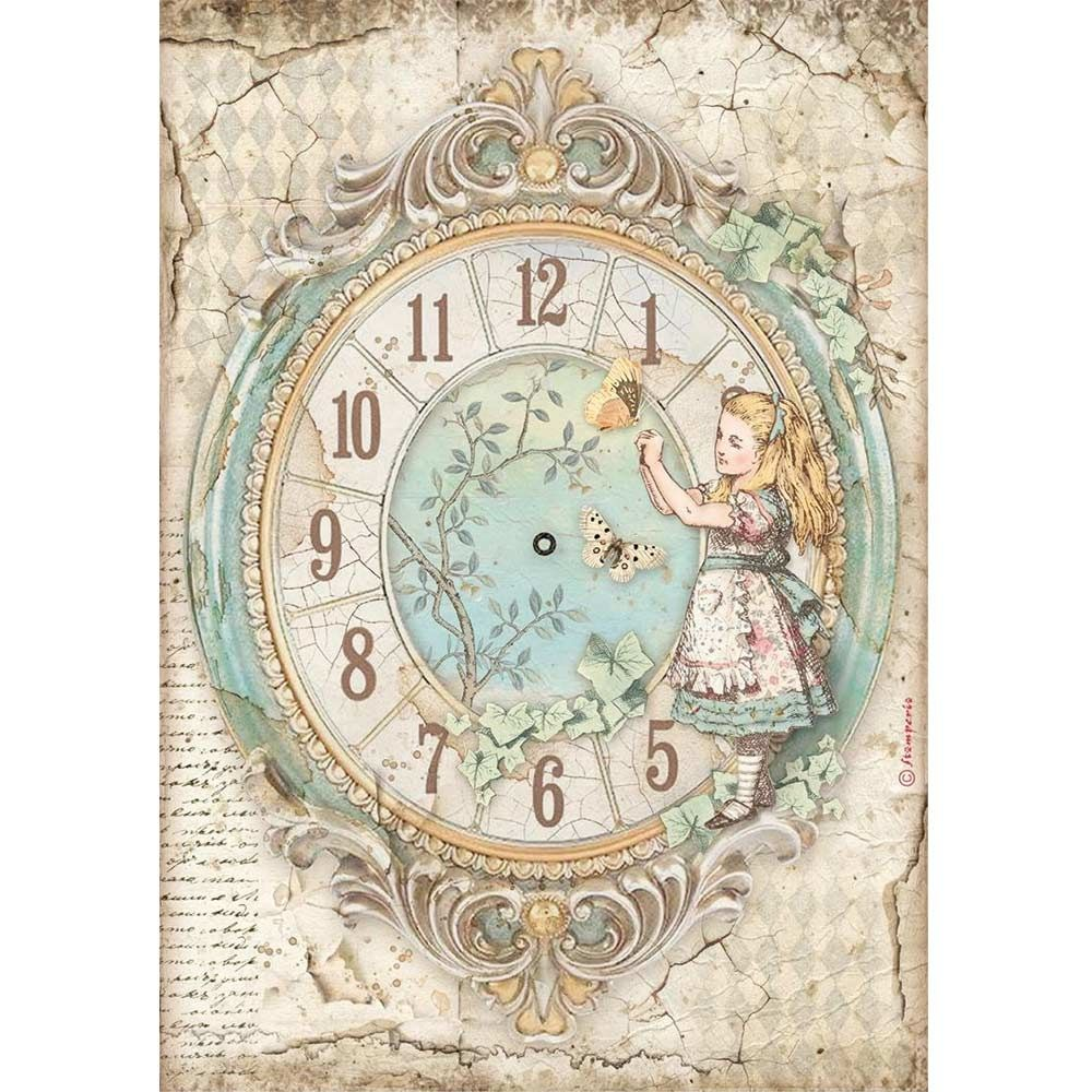 Stamperia Alice Through the Looking Glass A4  Rice Paper Clock (DFSA4602)