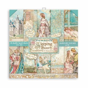 """Stamperia Sleeping Beauty  8 x 8"""" Double sided Scrapbooking Papers (SBBS38)"""