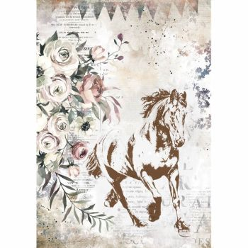 Stamperia Romantic Horses A4 Running Horse (6 pcs) (DFSA4579)