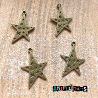 Bronze Embossed Stars Charms (C174)