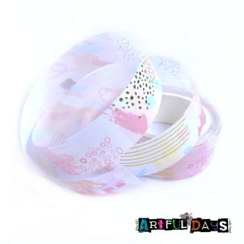 Pink Pattern Gold Foiled Washi Tape (W8021)