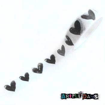Black & White Scribble Hearts Washi Tape (W8024)