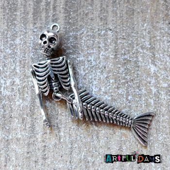 Silver Mermaid Skeleton Charm