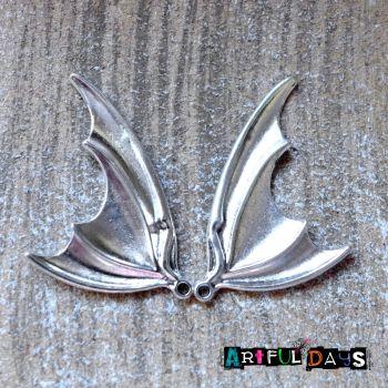 Pair of Silver Bat Wings
