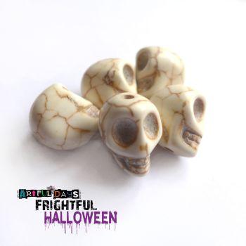 Skull Beads - Distressed White