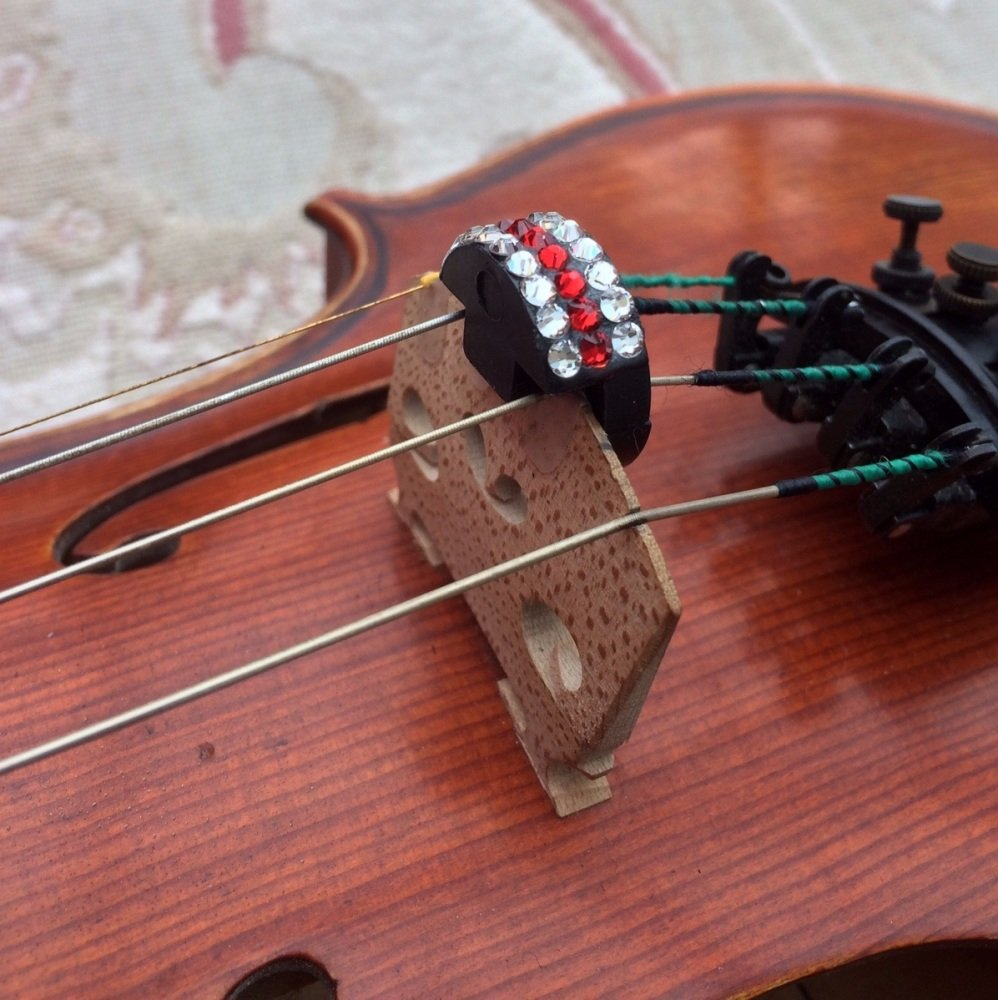 Violin and Viola Mutes - Horizontal Stripes - Light Siam and Clear