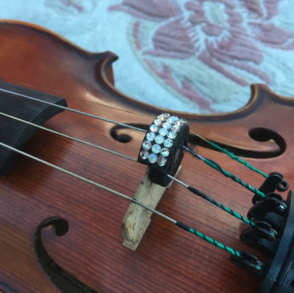 Violin and Viola Mutes - Horizontal Stripes - Silk and White Opal