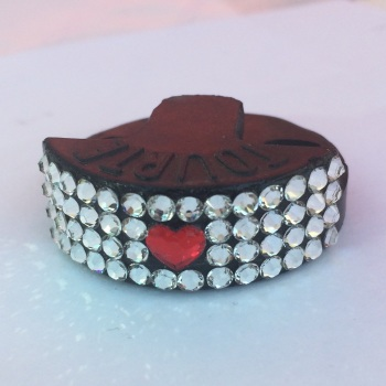 Valentines Day Cello Mute - Single Swarovski Red Heart with Clear Crystal surround