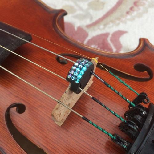 Violin and Viola Mutes - Horizontal Stripes - Light Turquoise, Aquamarine &