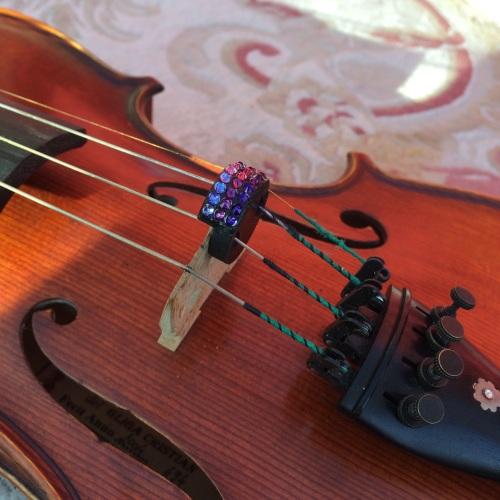 Violin and Viola Mutes - Horizontal Stripes - Purple Velvet, Tanzanite & Am