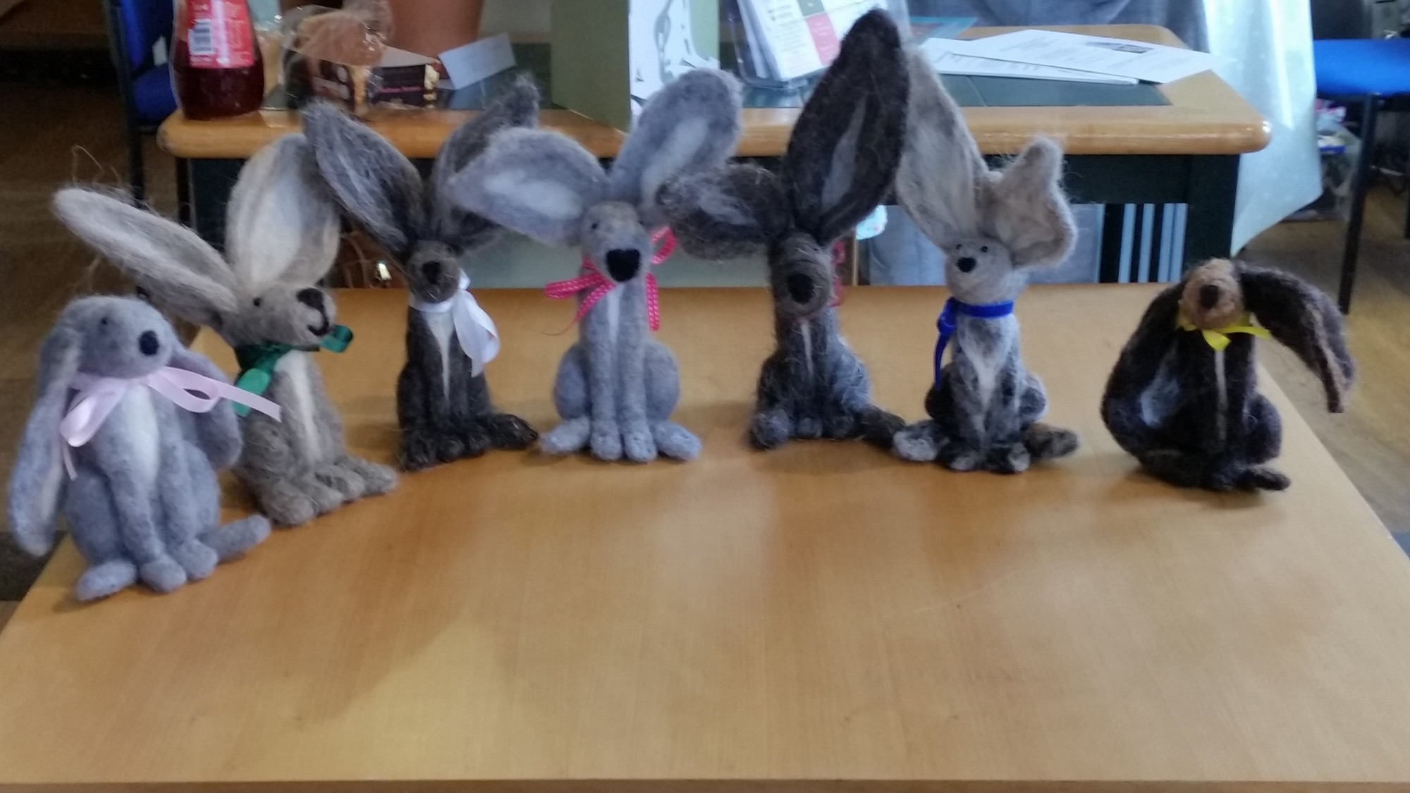 needle felted hares at The Craft Studio in Pewsey