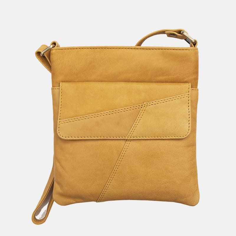 Crumble Women's Crossbody Bag 100% Real Leather in Mustard