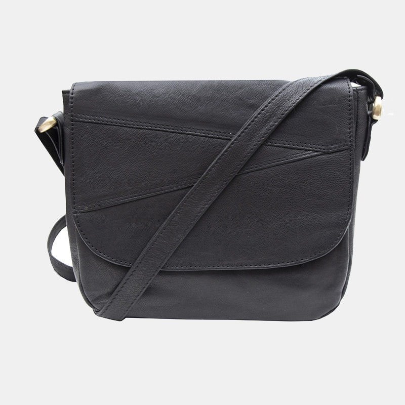 Crumble Shoulder Bag in 100% Real Leather in Black