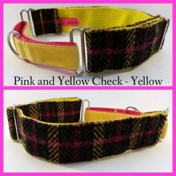 "1.5"" Pink and Yellow Check Harris Tweed Martingale Collar"