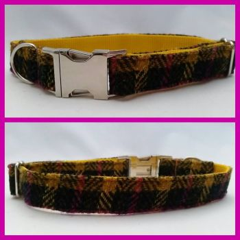 "1"" Pink and Yellow Check Harris Tweed Clip Dog Collar"