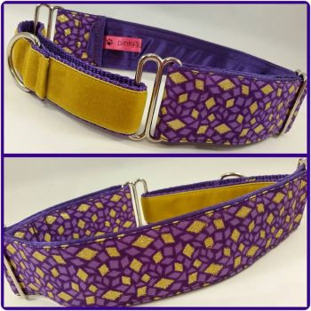 Purple African Glitter Diamonds Half Martingale Collar