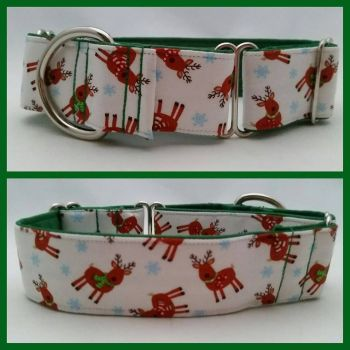 "1.5"" Tossed Reindeers Whippet Martingale Collar"
