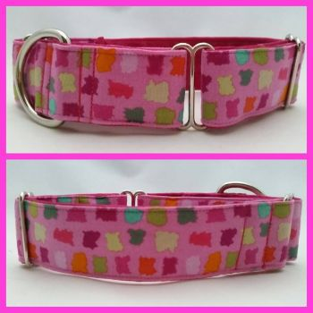 "1.5"" Pink Patches Whippet Martingale Collar"