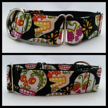 "1.5"" Mexican Sugar Skulls Whippet Martingale Collar"