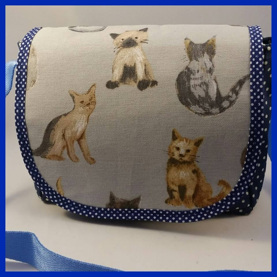 Blue Polkadot Cats Mini Messenger Bag
