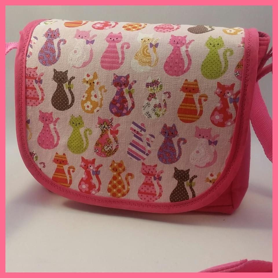 Pink Cats Mini Messenger Bag