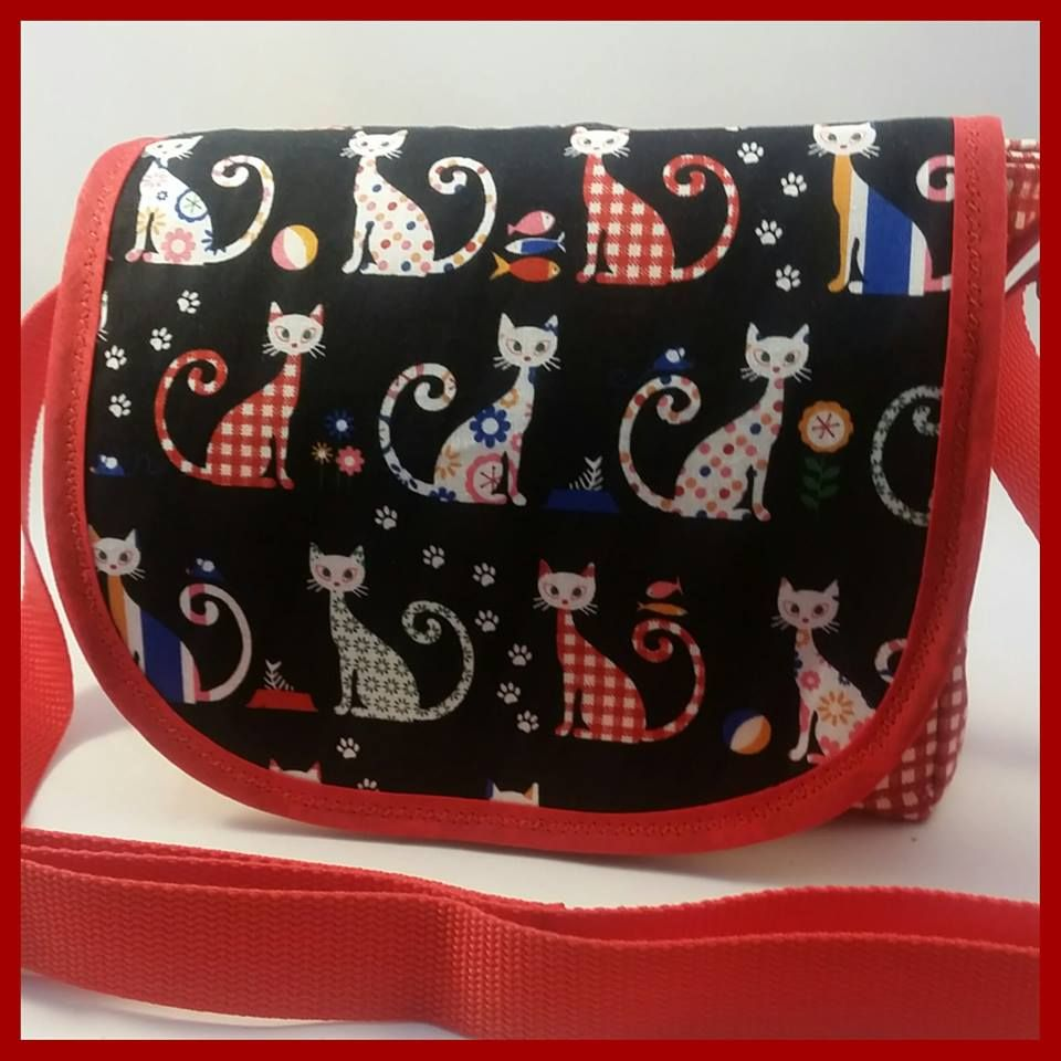 Red Gingham Cat Mini Messenger Bag