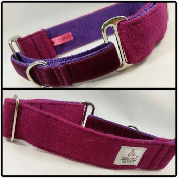 "1.5"" Fuschia Harris Tweed Martingale Collar"
