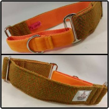 "1.5"" Lime Green and Orange Herringbone Harris Tweed Martingale Collar"