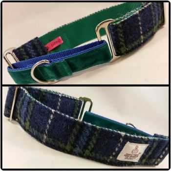 "1.5"" Blue and Green Check Harris Tweed Martingale Collar"