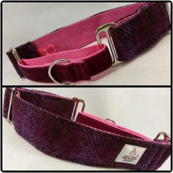 "1.5"" Purple Check Harris Tweed Martingale Collar"