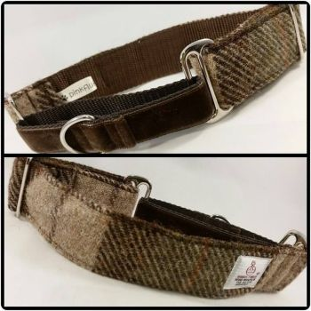 "1.5"" Brown Check Harris Tweed Martingale Collar"