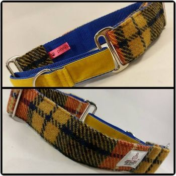"1.5"" Mustard Check Harris Tweed Martingale Collar"