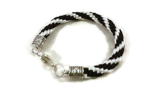 Black and White Stripe Braided Bracelet
