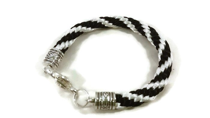 Black and White Stripe Braided Bracelet