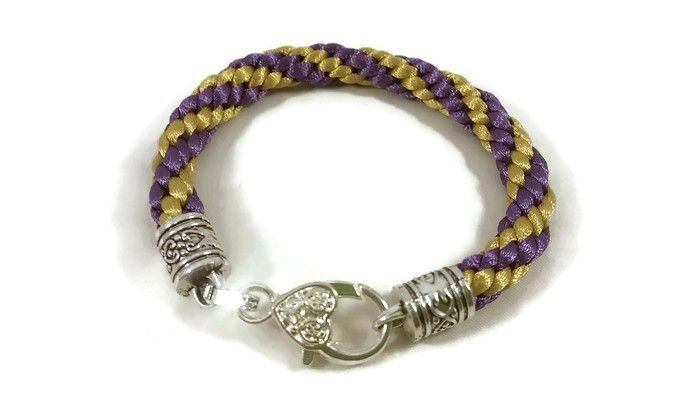 Purple and Gold Stripe Braided Bracelet