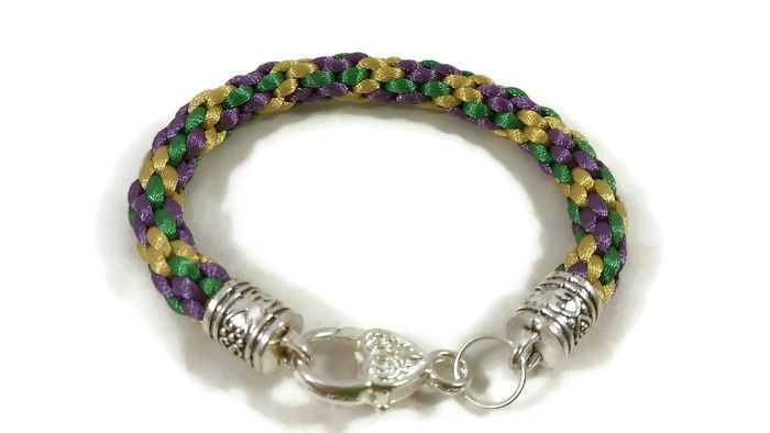 Purple, Gold and Green Braided Bracelet