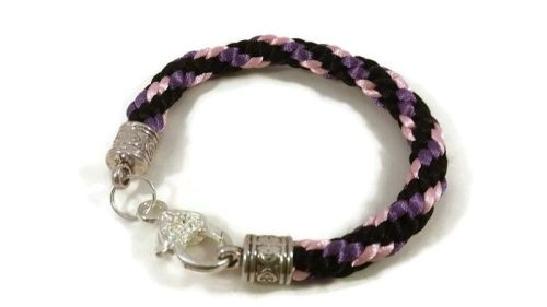 Black, Purple and Baby Pink Braided Bracelet