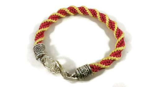 Hot Pink and Yellow Helix Spiral Braided Bracelet