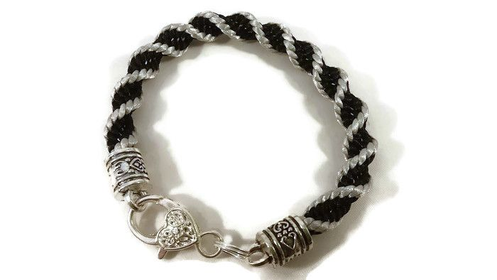 Silver and Black Helix Spiral Braided Bracelet