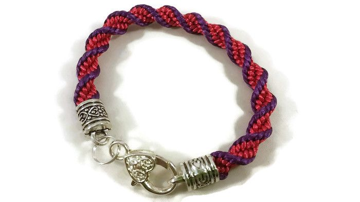 Purple and Hot Pink Helix Spiral Braided Bracelet