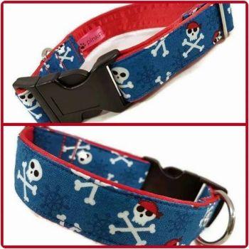 "1"" Blue Pirates Clip Dog Collar"